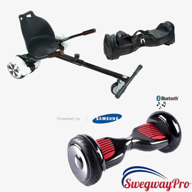 Black 10 inch Swegway Hoverboard Hoverkart Bundle