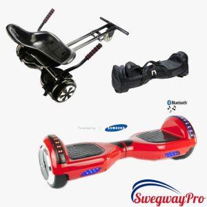 RED DISCO Swegway and Kart Hoverboard Bundle