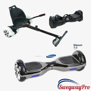 Chrome Black Hoverboard and Hoverkart Bundle Sale