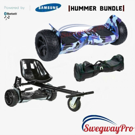 HOVERBOARDS UK Blue Camo Hummer Hoverboard Suspension Kart Deal