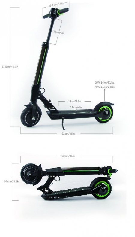 KooWheel ELECTRIC SCOOTER size measurements