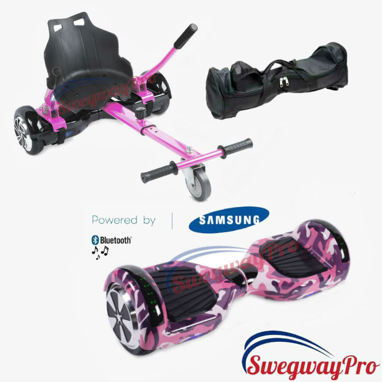 HOVERBOARD Deal Pink Camo Swegway Kart Bundle